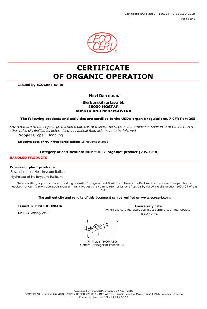 LATEST CERTIFICATE FOR ORGANIC HELICHRYSUM OIL NAD HYDROLATE 2020