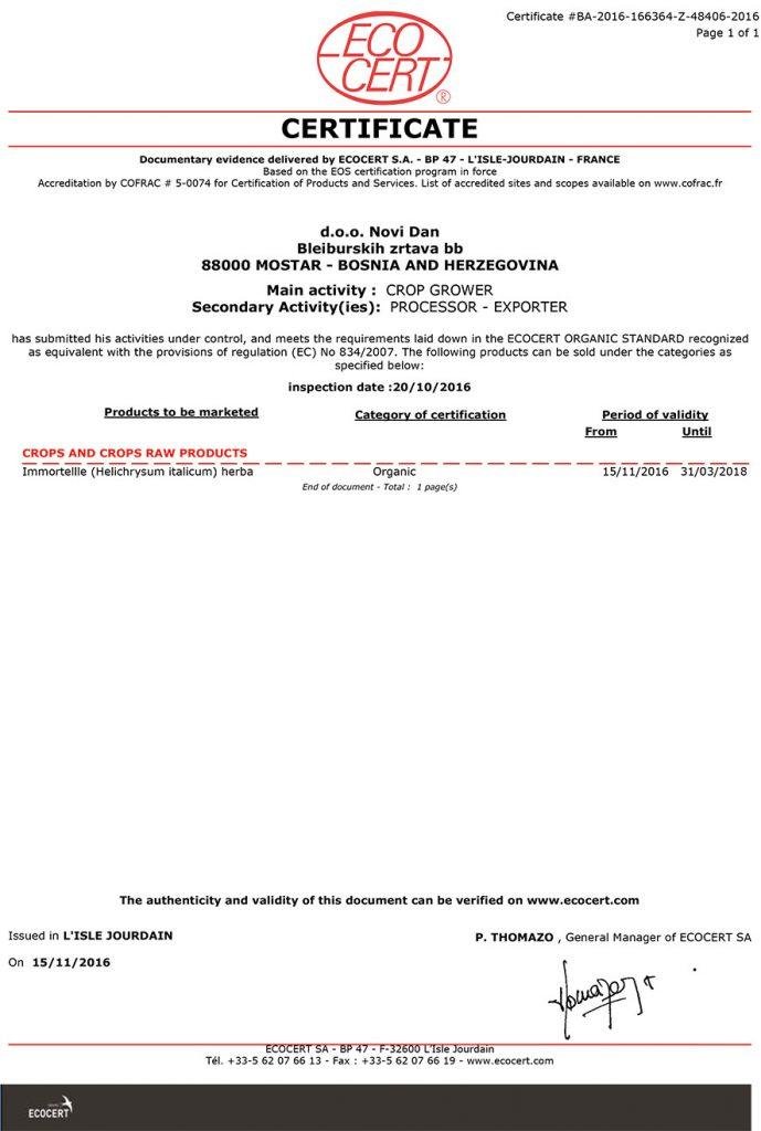 SA - Certificat EOS Novi Dan 2016