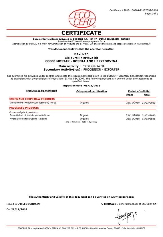 SA - Certificat EOS Novi Dan 2018