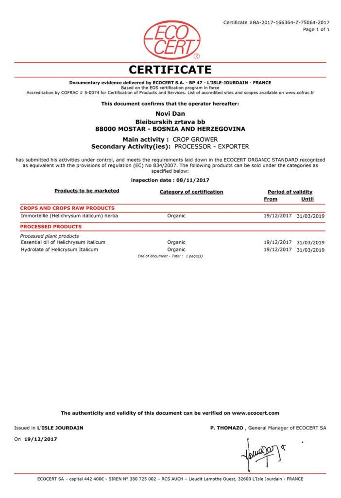 SA_Certificat_EOS_Novi_Dan_immortelle