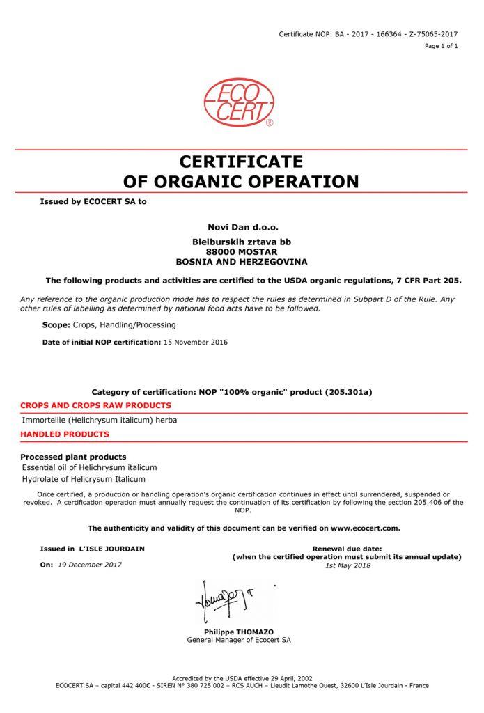 SA_Certificat_NOP_Novi_Dan_immortelle