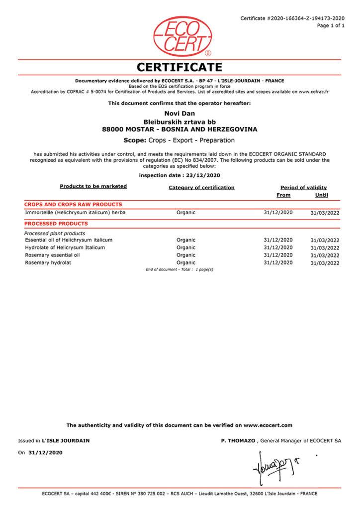 Organic Certificate Essential oil