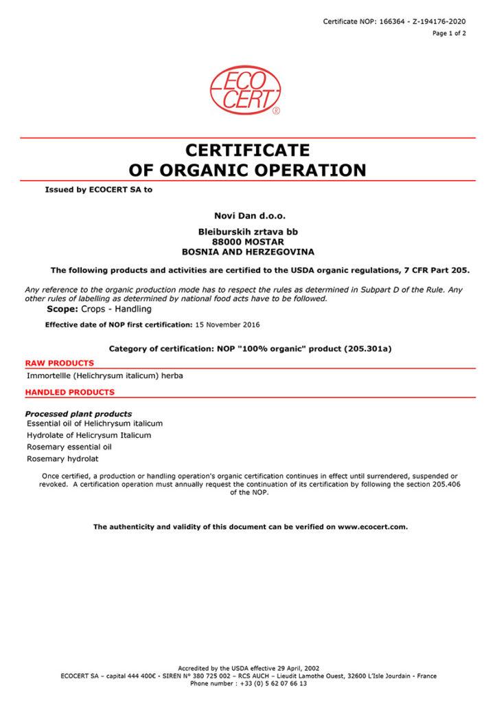 Organic Certificates NOP Essential oil
